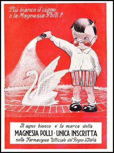 PUBBLICITA' 1924 MAGNESIA FARMACIA G. POLLI MILANO BAMBINO CIGNO BIANCO REGNO