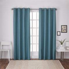 Exclusive Home London Thermal Textured Linen Grommet Top Window Curtain Panel Pair Blue Teal), Green Thermal Curtains, Grommet Curtains, Blackout Curtains, Drapes Curtains, Curtain Panels, Window Panels, Colorful Curtains, Space Furniture, Home Decor Outlet