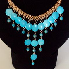 Statement necklace bauble necklace turquoise by NezDesigns on Etsy, $30.00