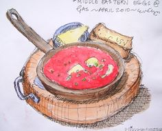 Baked eggs drawing © Evelyn Howard 2010