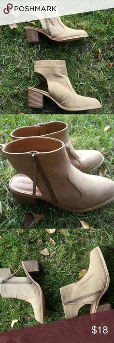 {Michael Antonio} tan booties Michael Antonio tan colored booties with a heel cutout. Size 10. Never been worn. Michael Antonio Shoes Ankle Boots & Booties