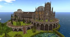 snapshot of castle build with opensim virtual-world on osgrid