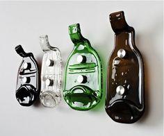 flattened liquor bottles