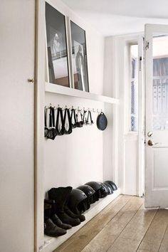 Langer Flur - New Ideas Small Space Organization, Small Storage, Shoe Storage, Organizing Ideas, Coat Storage, Key Storage, Storage Ideas, Hallway Inspiration, Interior Inspiration