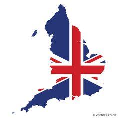 UK Flag Vector Map Of England