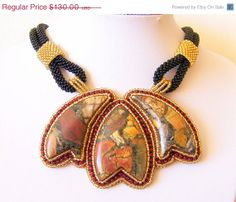 CHRISTMAS SALE Bead Embroidery Necklace Pendant Beadwork by lutita, $117.00