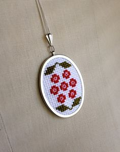 Cross Stitch Red and Green Flower Pendant by TheMarshWrenShop