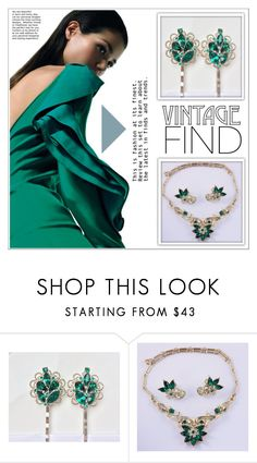 """Vintage Find: Green Jewelry"" by shambala-379 ❤ liked on Polyvore featuring CORO and vintage"