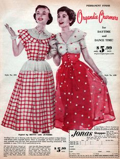 """It doesn't get any more """"1950s"""" than this!  Red, white, polka dots, and perfect silhouettes.  I think the one on the right is breathtaking."""