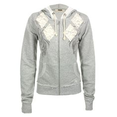 Miss Me Women's Argyle Lace Beaded Hoodie
