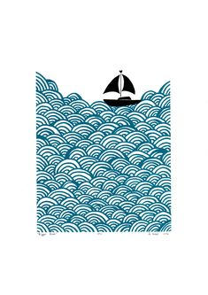 Lu West - Bigger Boat Print in Aqua - Linocut Prints, Art Prints, Graphic Prints, Lino Art, Boat Illustration, Posca Art, Linoprint, White Prints, Silk Screen Printing