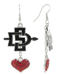 Black SDSU Lovers Fish Hook Earrings with Red Crystal Hearts