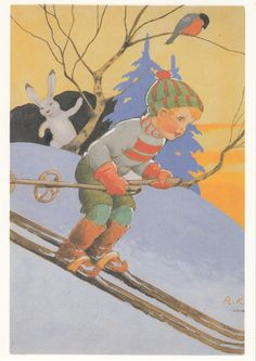 Vintage Ruldolf Koivu Christmas Card ~ Orange Details