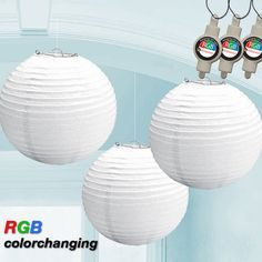 Hanging Lantern 9.5 White (3 Count) with Hanging RGB LEDS $14.99 #birando