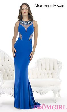 Sleeveless Floor Length Prom Dress with Sheer Detailing at PromGirl.com