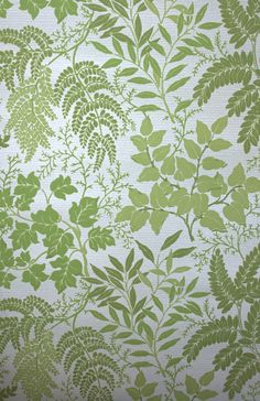 1970s Vintage Flocked Wallpaper With Green Ferns And Leaves