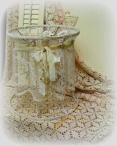 Upcycled Lamp Shade Lampshade Vintage Needle Lace by WKayDesignz, $46.00
