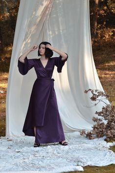 Purple silk dress, Wrap dress, Extravagant dress, Assymetric dress Party dress