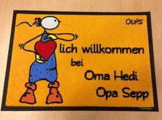 Oups-Fußmatte: Geschenk für Oma und Opa.