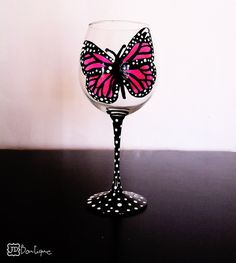 Pink Monarch butterfly 1 hand painted wine glass by Jdboutique, $20.00