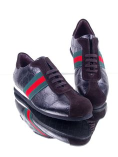 Gucci Suede Leather Sneakers for Men-Black