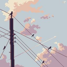 [OC] Birds & Electricity (timelapse process linked in comments) : PixelArt Aesthetic Art, Aesthetic Pictures, Aesthetic Anime, Aesthetic Backgrounds, Aesthetic Wallpapers, Animes Wallpapers, Cute Wallpapers, Pixel Art Background, Background Process