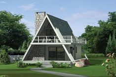 This stunning A-frame retreat features a stone fireplace in the spacious living room. The adjoining kitchen includes a snack bar connecting the two areas....