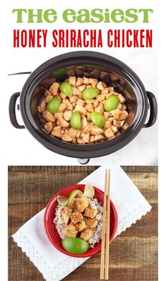 How to Make Honey Sriracha Chicken! This tasty crockpot meal is the easiest meal you'll make all week. Go give it a try! Honey Sriracha Chicken, Chicken Teriyaki Recipe, Easy Crockpot Chicken, Easy Chicken Recipes, Easy Dinner Recipes, Easy Meals, Easy Recipes, Popular Recipes, Dinner Ideas