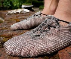 Chainmail Shoes Run barefoot without looking like a five toed idiot with these chainmail shoes. Constructed with a minimalistic stainless steel design these chainmail shoes are perfect barefoot running which . Outdoor Gadgets, Outdoor Gear, Skechers, Barefoot Running, Minimalist Shoes, Chain Mail, Geek Gifts, Just In Case, Men's Shoes