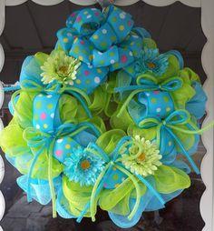 Deco Mesh Wreath, Spring Deco Mesh Wreath, Mesh Wreath, Wreath. $75.00, via Etsy.