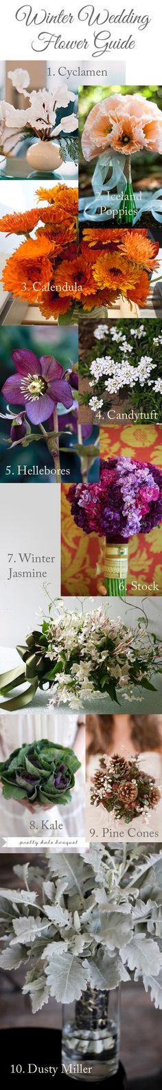 Winter Wedding Flower Guide #weddings #flowers  #bouquets