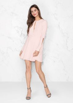 & Other Stories Slits Sleeved Dress in Pink