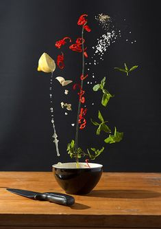 Exciting Arrangements of Food Suspended in Mid-Air