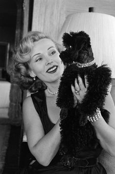 Not originally published in LIFE. Zsa Zsa Gabor with her dog, Farouk, California, 1951.