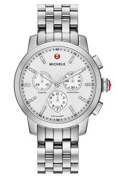 MICHELE 'Uptown' Diamond Dial Chronograph Watch Case