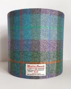Harris Tweed Lampshade – a lovely combination of green, purple and turquoise blue tartan with a red, green and blue overcheck.