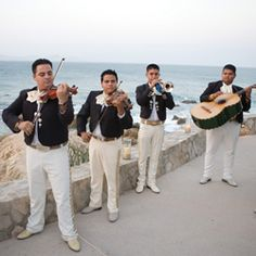In Mexican weddings, a mariachi band performs, playing violins, trumpets, a Spanish guitar, a vihuela, and a guitarron.