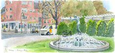 Eine stimmungsvolle Skizze vom Zeltinger Platz der Berliner Gartenstadt Frohnau.