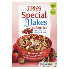 #Tesco! Special flakes with red berries. Crisp flakes with raspberry, cherry & strawberry pieces.