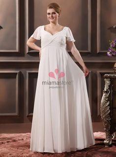 JOYCE - Sheath V-neck Empire waist Floor length Chiffon Wedding dress