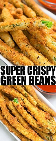 Quick and easy CRISPY FRIED GREEN BEANS recipe made with simple ingredients. These green bean fries are an easy appetizer, easy snack or easy side and can be made with fresh or frozen green beans. From cakewhiz.com