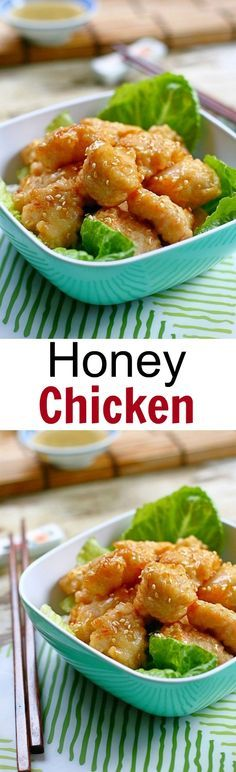 Honey chicken is a popular Chinese recipe. Easy honey chicken with simple ingredients: honey, chicken and tastes MUCH better than takeouts | rasamalaysia.com