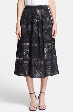 Black lace midi skirt for the holidays...