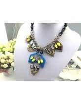 Luxurious Exaggerate Style Fluorescence Color Gem Complex Alloy Necklace