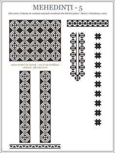 Romanian motifs - Mehedinti 1910 Folk Embroidery, Embroidery Patterns, Cross Stitch Patterns, Fair Isle Knitting Patterns, Hama Beads, Beading Patterns, Pixel Art, Projects To Try, Traditional