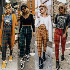 Where can I find plaid pants like these? Where can I find plaid pants like these? Retro Outfits, Vintage Outfits, Outfits Casual, Grunge School Outfits, Grunge Winter Outfits, Summer Grunge, Fall School Outfits, 90s Style Outfits, Black Outfit Grunge