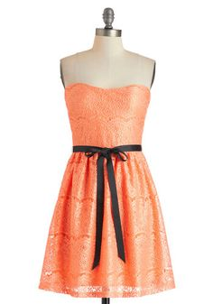 Exquisite Visit Dress in Apricot, #ModCloth   (I don't like the black ribbon tie at all)