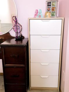 b92a2fc10f19 Cute white and wood Ikea Askvoll dresser only $99, perfect for narrow tight  spaces and