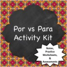 Notes & Activities for teaching the differences between POR and PARA