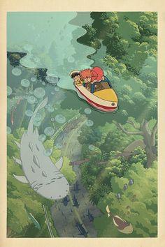 Ghibli landscape, art illustrated by Bill Mudron. - the site of Japan - Ghibli landscape, art illustrated by Bill Mudron. – the site of Japan - Hayao Miyazaki, Art And Illustration, Watercolor Illustration, Art Illustrations, Anime Kunst, Anime Art, Aesthetic Art, Aesthetic Anime, Aesthetic Drawings